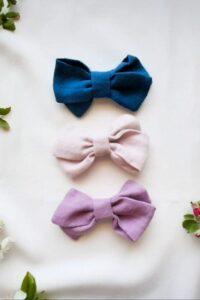 stylowe-dodatki-dla-dziewczynek-spinki-opaski-recznie-szyte-w-polsce-lilen-blady-roz-fiolet-liliowa-kokarda-granatowa
