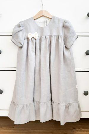 jasno-szara-sukienka-lniana-handmade-made-in-poland-dla-dziewczynki-lilen