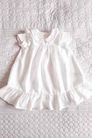 Biała sukienka z kokardką i bawełnianą koronką na chrzest dla dziewczynki