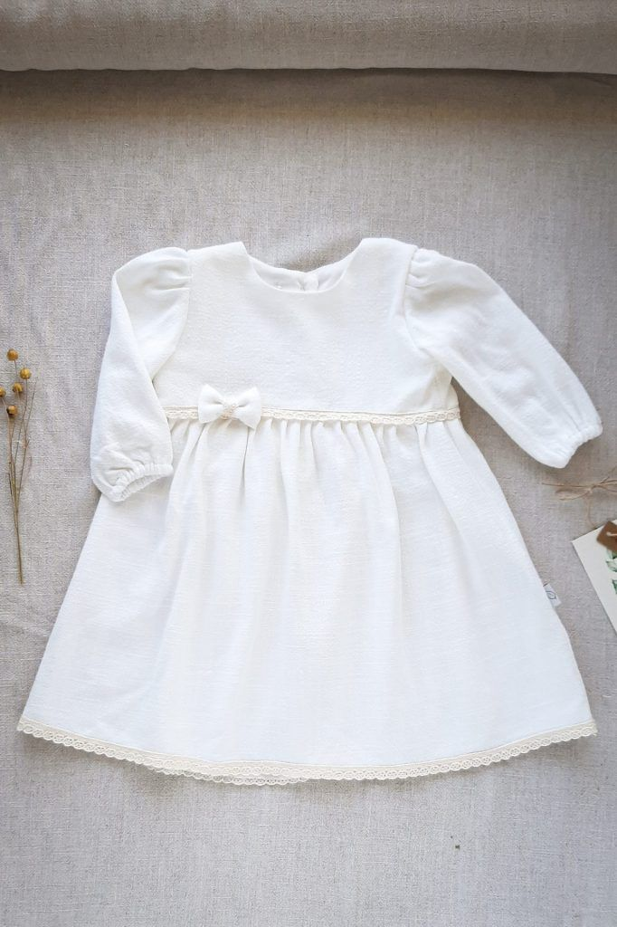 Sukienka Amelia Biała Z Długim Rękawem Naturalny Chrzest Lilen
