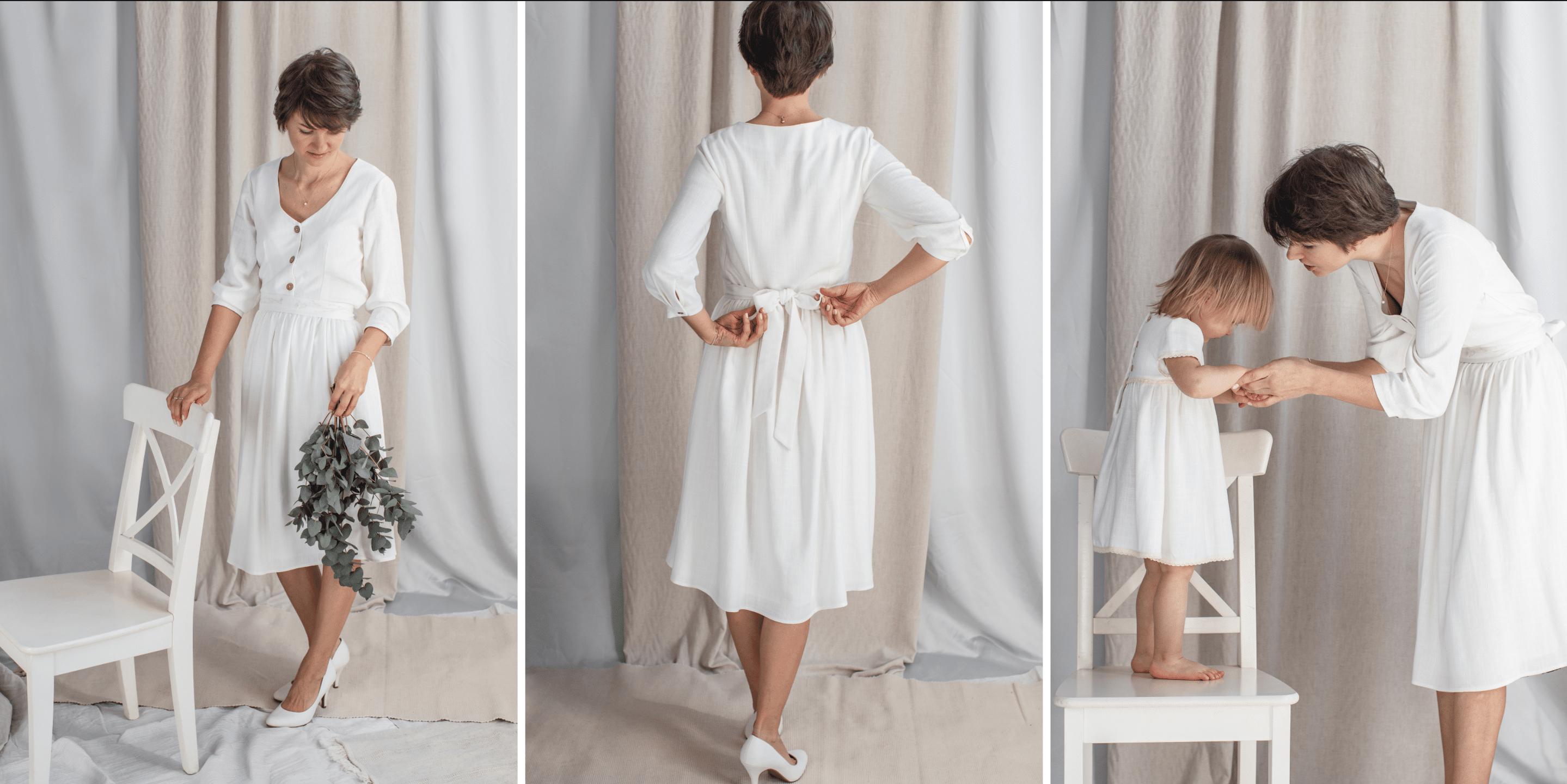 sukienka dla karmiącej mamy na chrzest a kolano klasyczna midi biała len wiskoza lilen